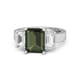 Emerald Green Tourmaline Sterling Silver Ring with White Sapphire