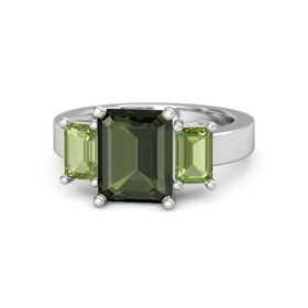 Emerald-Cut Green Tourmaline Sterling Silver Ring with Peridot