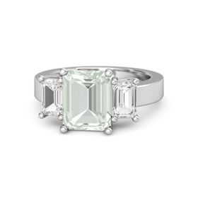 Emerald Green Amethyst Sterling Silver Ring with White Sapphire