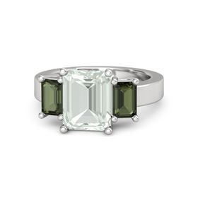 Emerald-Cut Green Amethyst Sterling Silver Ring with Green Tourmaline