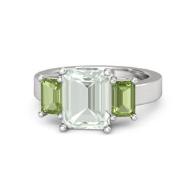 Emerald-Cut Green Amethyst Sterling Silver Ring with Peridot