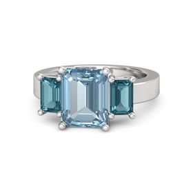 Emerald-Cut Aquamarine Sterling Silver Ring with London Blue Topaz