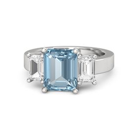 Emerald Aquamarine Sterling Silver Ring with White Sapphire