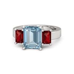 Emerald Aquamarine Sterling Silver Ring with Ruby