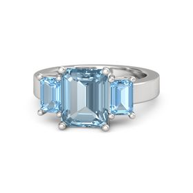 Emerald-Cut Aquamarine Sterling Silver Ring with Blue Topaz