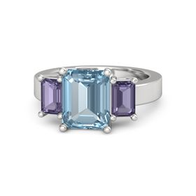 Emerald-Cut Aquamarine Sterling Silver Ring with Iolite