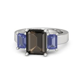 Emerald Smoky Quartz Sterling Silver Ring with Tanzanite