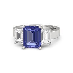 Emerald-Cut Tanzanite Sterling Silver Ring with White Sapphire