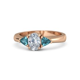 Oval Diamond 14K Rose Gold Ring with London Blue Topaz