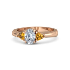 Oval Diamond 14K Rose Gold Ring with Citrine