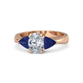 Oval Diamond 14K Rose Gold Ring with Blue Sapphire