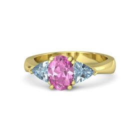 Oval Pink Sapphire 14K Yellow Gold Ring with Aquamarine