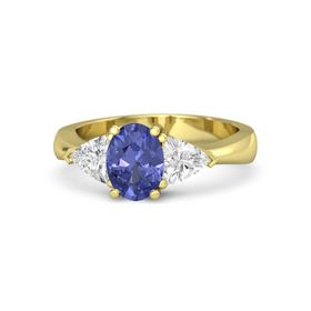 Oval Tanzanite 14K Yellow Gold Ring with White Sapphire