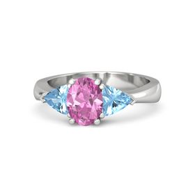 Oval Pink Sapphire Sterling Silver Ring with Blue Topaz