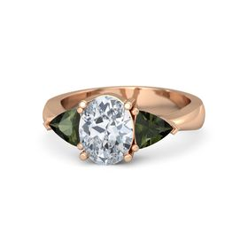 Oval Diamond 14K Rose Gold Ring with Green Tourmaline