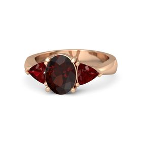 Oval Red Garnet 14K Rose Gold Ring with Ruby