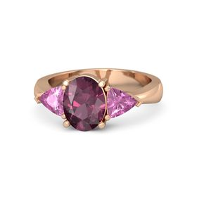 Oval Rhodolite Garnet 14K Rose Gold Ring with Pink Sapphire