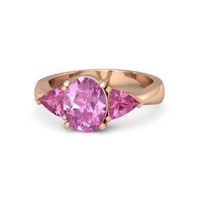 Oval Pink Sapphire 14K Rose Gold Ring with Pink Tourmaline