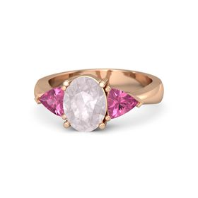 Oval Rose Quartz 14K Rose Gold Ring with Pink Tourmaline