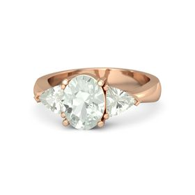 Oval Green Amethyst 14K Rose Gold Ring with Green Amethyst