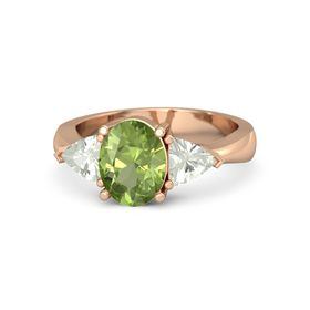 Oval Peridot 14K Rose Gold Ring with Green Amethyst
