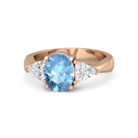 Oval Blue Topaz 14K Rose Gold Ring with White Sapphire