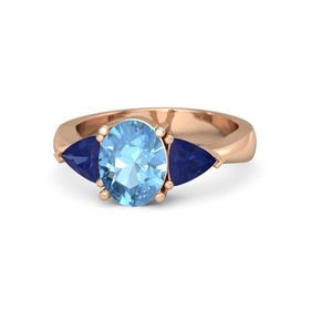 Oval Blue Topaz 14K Rose Gold Ring with Sapphire
