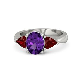 Oval Amethyst 14K White Gold Ring with Ruby