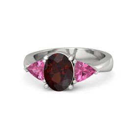 Oval Red Garnet 14K White Gold Ring with Pink Tourmaline