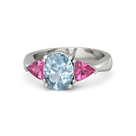Oval Aquamarine 14K White Gold Ring with Pink Tourmaline