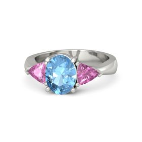 Oval Blue Topaz 14K White Gold Ring with Pink Sapphire