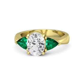 Oval White Sapphire 14K Yellow Gold Ring with Emerald