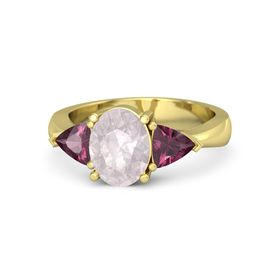 Oval Rose Quartz 14K Yellow Gold Ring with Rhodolite Garnet