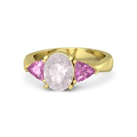 Oval Rose Quartz 14K Yellow Gold Ring with Pink Sapphire