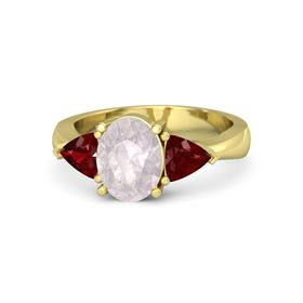 Oval Rose Quartz 14K Yellow Gold Ring with Ruby