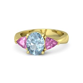 Oval Aquamarine 14K Yellow Gold Ring with Pink Sapphire