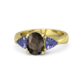 Oval Smoky Quartz 14K Yellow Gold Ring with Tanzanite