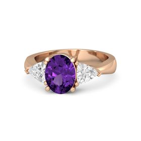 Oval Amethyst 18K Rose Gold Ring with White Sapphire
