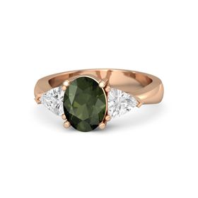 Oval Green Tourmaline 18K Rose Gold Ring with White Sapphire