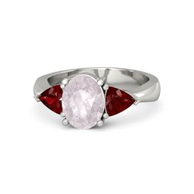 Oval Rose Quartz 18K White Gold Ring with Ruby