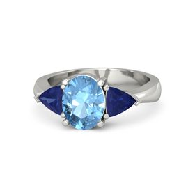 Oval Blue Topaz 18K White Gold Ring with Blue Sapphire