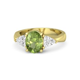 Oval Peridot 18K Yellow Gold Ring with White Sapphire