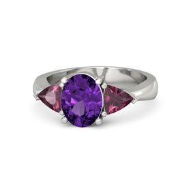 Oval Amethyst Palladium Ring with Rhodolite Garnet