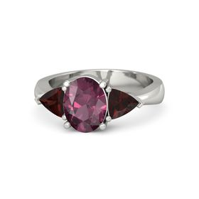 Oval Rhodolite Garnet Palladium Ring with Red Garnet