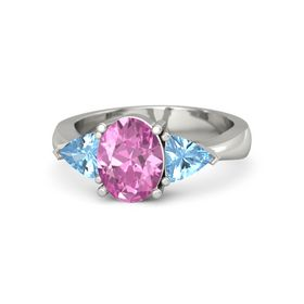 Oval Pink Sapphire Palladium Ring with Blue Topaz