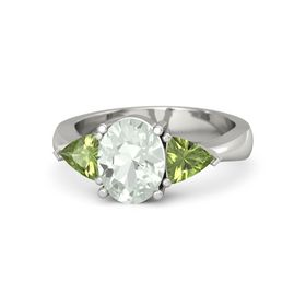 Oval Green Amethyst Palladium Ring with Peridot