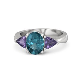 Oval London Blue Topaz Sterling Silver Ring with Iolite