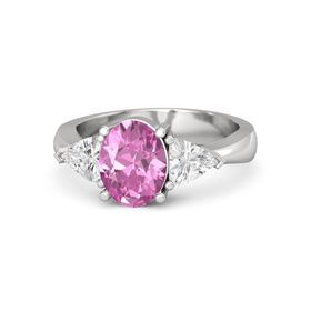 Oval Pink Sapphire Sterling Silver Ring with White Sapphire