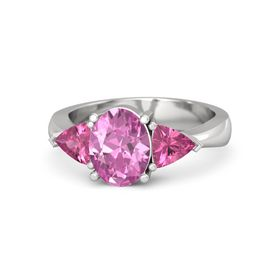 Oval Pink Sapphire Sterling Silver Ring with Pink Tourmaline