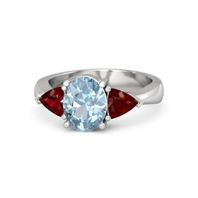 Oval Aquamarine Sterling Silver Ring with Ruby